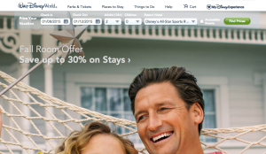 Disney Website Homepage.  Price your vacation