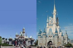 Sleeping Beauty's Castle (left) and Cinderella Castle (right)