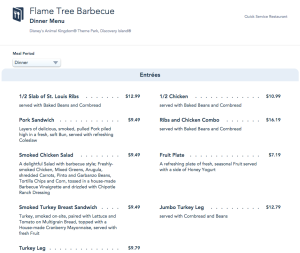 Flame Tree BBQ Menu