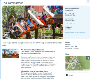 Description of Goofy's Barnstormer from Disney's website