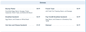 Pop Century Breakfast Entrees