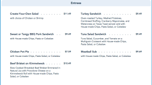 Pop Century Lunch Entrees