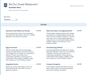 Be Our Guest Adult entrees