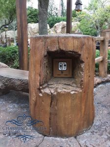 These charging stations are cleverly disguised as stumps near the Rapunzel bathrooms in Fantasyland