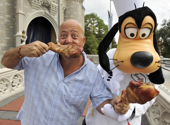 Andrew Zimmerman chowing down on a Turkey Leg with Goofy