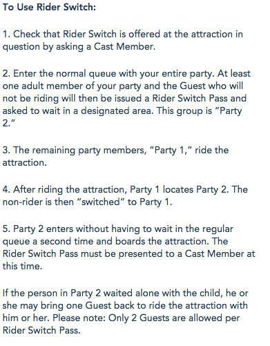 Rider Swap Instructions on Disney Website
